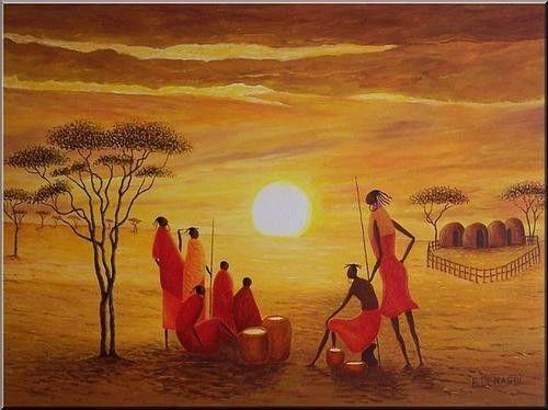 Afrique dessins peintures page 4 - Dessin paysage africain ...