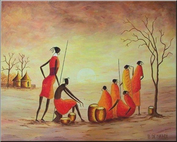 Afrique dessins peintures - Dessin paysage africain ...
